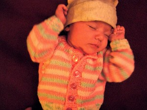 This sweater was made by our friend, Gwen's mom (thank you!). There are even matching leg warmers!