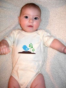 This is one of her really adorable onesies. I love the color of the birdie.